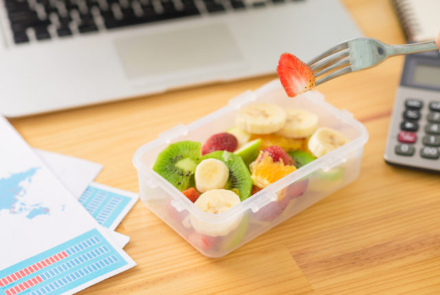 Fruit salad at work, Healthy Snack Ideas To Store At Your Desk