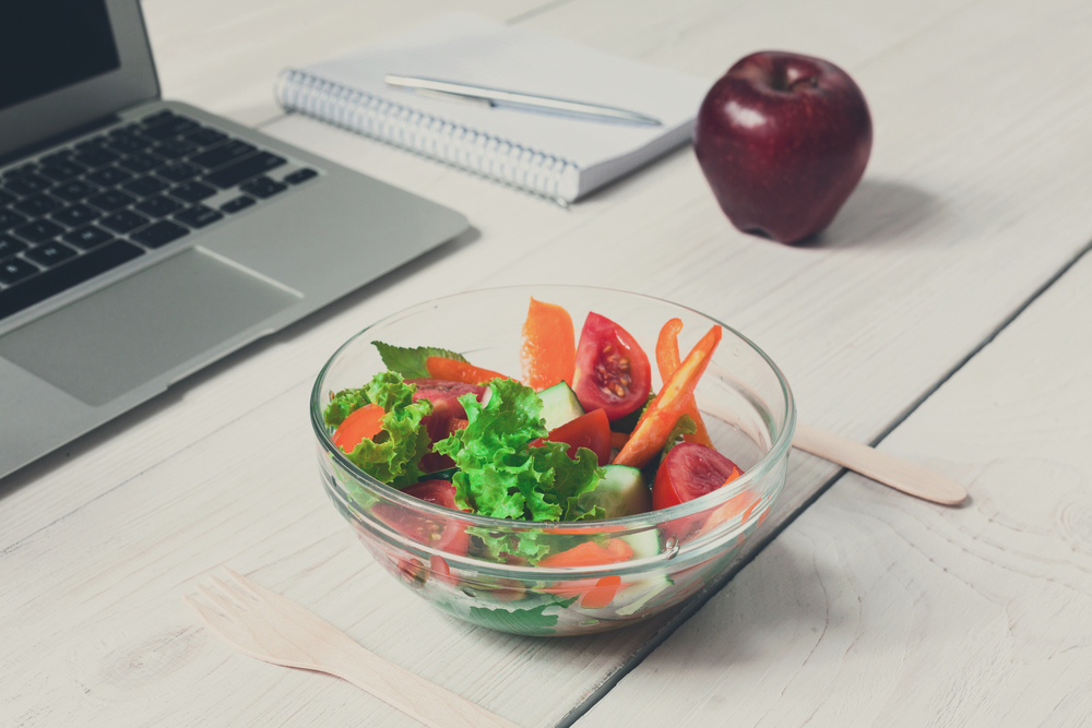 Salad and Apple at work, Healthy Snack Ideas To Store At Your Desk